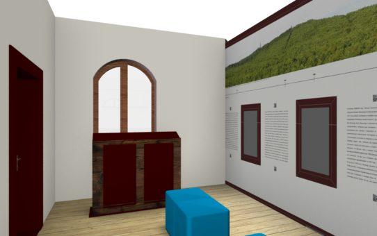 Wizualizacja pomieszczenia z ekspozycją dotyczącą historii SPN. Na wprost ściana z oknem. Pod oknem pulpit na wydawnictwa. Po prawej ściana z zamontowanymi ekranami LCD oraz grafika wielkoformatową. Na środku sali dwie niebieskie pufy.