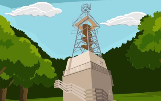 Kadr z animacji komputerowej. Widok z dołu na metalową konstrukcję wieży widokowej na wzgórzu Rowokół. Dookoła korony drzew. U góry błękitne niebo z białymi chmurami.