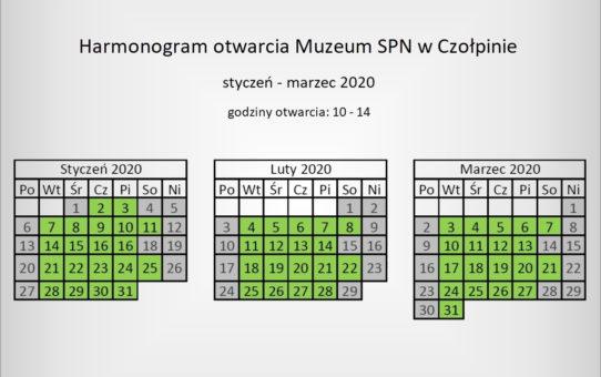Harmonogram otwarcia Muzeum SPN w Czołpinie w okresie styczeń - marzec 2020r.