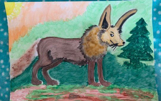 Praca Alicji Bloch wyróżniona w konkursie Dzień Ziemi w SPN w 2020r.Praca wykonana farbami plakatowymi, przedstawia fantastyczne zwierzę z pyskiem wilka, uszami zająca i grzywą lwa.
