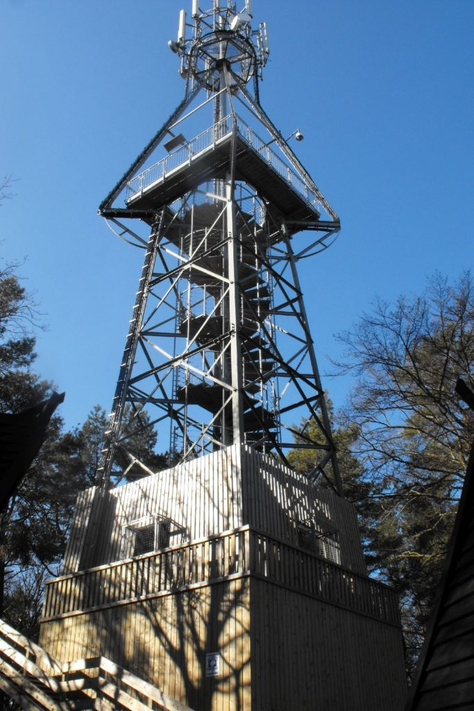 Wieża naRowokole ostalowej konstrukcji zespiralnie wijącymi się schodami iplatformą ponad koronami drzew.