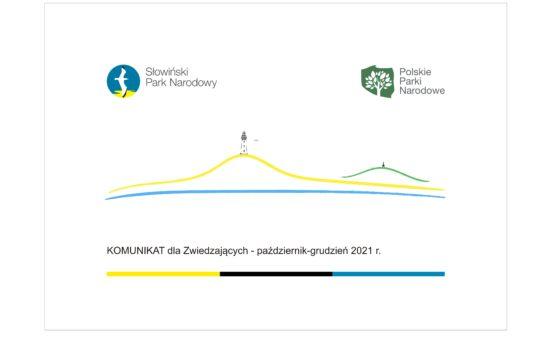 Link do artykułu (bez osadzania w treści artykułu); Grafika dekoracyjna przedstawiająca kontur głównych elementów krajobrazu w Czołpinie. Najniżej niebieska linia symbolizująca linię brzegową Bałtyku. Powyżej żółty kontur Wydmy Czołpińskiej z czarną sylwetką latarni morskiej na szczycie. Po prawej stronie zielony kontur wzgórza Rowokół z czarną sylwetką wieży widokowej na szczycie. Poniżej napis o treści: Komunikat dla zwiedzających - październik-grudzień 2021r. U góry loga SPN i Polskich Parków Narodowych.