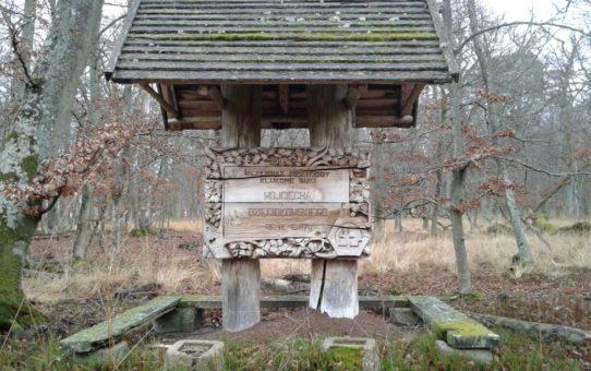 W centralnej części widać drewnianą konstrukcję z daszkiem. Na niej wyrzeźbiona sentencja i zdobienia. Wokół las w szacie jesienno-zimowej.